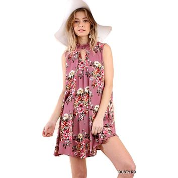 Floral Print Sleeveless Shift Keyhole Dress with Crochet and Mesh Neckline , Dusty Rose