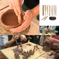 10 Wooden Pottery Clay Sculpture Ceramic Working Hand Arts Crafts Tools   TB Sale