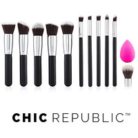 CHIC REPUBLIC 11 Piece Contouring Kabuki Makeup Brush Set Premium Synthetic Hair for Face Cheeks Eyes Powder Liquid Foundation Mineral Cream Blush Cosmetics BONUS Complexion Beauty Sponge Blender