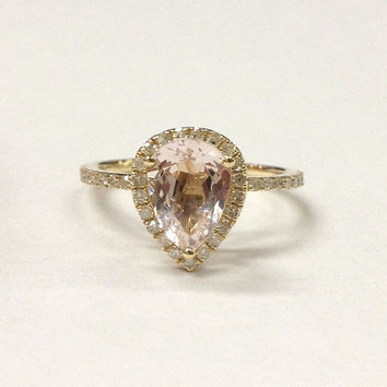Morganite Engagement Ring 14K Yellow Gold!Diamond Wedding Bridal Ring,6x8mm Pear Cut Pink Morganite,Halo Thin Design,Can make matching band