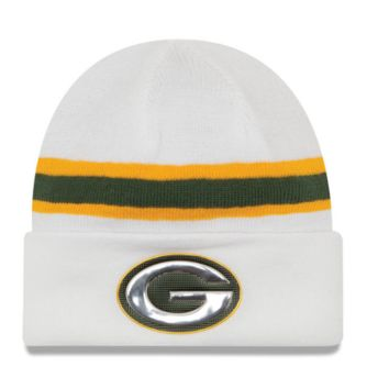 Green Bay Packers New Era White Color Rush On Field Cuffed Knit Hat