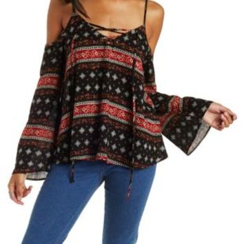 Black Combo Cold Shoulder Lace-Up Peasant Top by Charlotte Russe