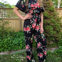 Off Shoulder Ruffled Floral Jumpsuit - Black