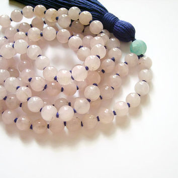 Rose quartz mala prayer beads, Natural stone mala beads necklace buddhist jewelry, 108 bead mala pink quartz necklace