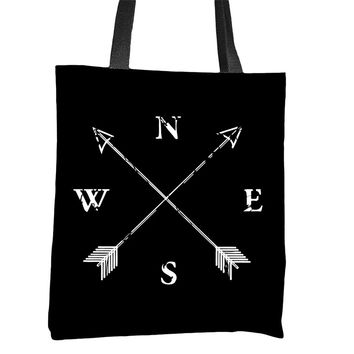 North South East West Compass Tote Bag