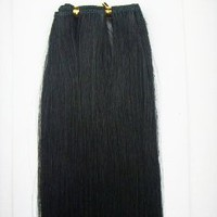 "22"" Long One 12"" Wide Weft Piece Track 100% Human Hair Extension for Glue or Sew in Do it yourself Weave #1 Jet Black"