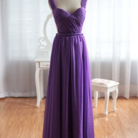 WowDresses — Enhancing Purple A-line Straps Neckline Floor Length Prom Dress
