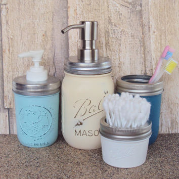 Mason Jar Soap Dispenser with Foaming Soap Dispenser and Lotion Dispenser, Mason Jar 4 Piece Vanity Set, Mason Jar Bathroom Storage Jars