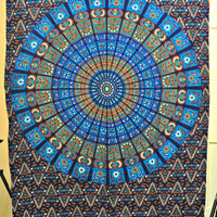 Hippie Mandala blue Tapestry, Hippie Wall Hanging, Cotton Bedspread Bed sheet, Indian Ethnic Tapestry, hippie wall hanging, twin tapestry