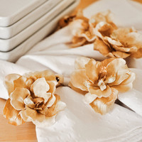 Flower Napkin Rings Golden Autumn Decor Handmade Set by wishdaisy