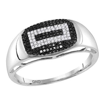 10kt White Gold Men's Round Black Color Enhanced Diamond Concentric Rectangle Cluster Ring 1/4 Cttw - FREE Shipping (US/CAN)