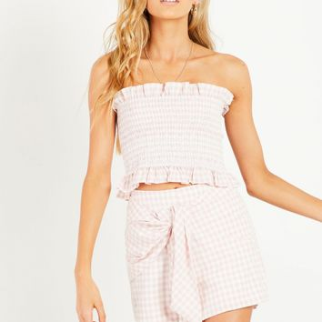 Neve Shirred Bodice - Pink Check