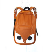 Lady Pu Leather Fox Backpack Handbag School Student Bags Bookbags Travel Satchel