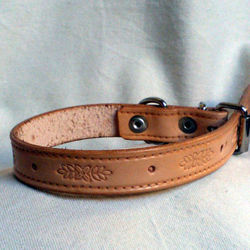 "leather dog collar, natural, tooled floral design, 3/4"" wide, size 11 to 14"""