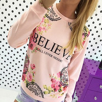 Letter and Floral Print Long Sleeve Pullover Sweatshirt