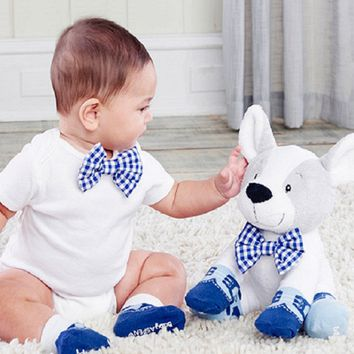 Oscar in his Oxfords Plush Puppy with Clip On Bow Tiea and Two Pairs of Socks for Baby