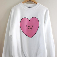 Can U Not Pink Heart Graphic Crewneck Sweatshirt