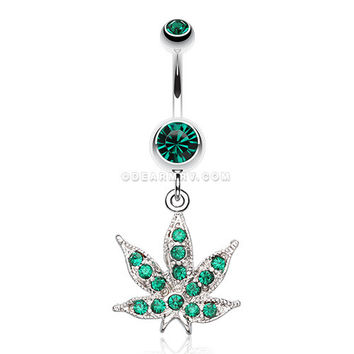 Marijuana Leaf Sparkle Belly Ring (Green)