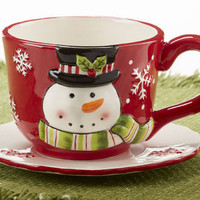 Christmas Holiday Snowman Teacup and Saucer **Limited Supply**