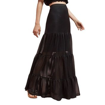 Apparel Solid Black Stripe Lace Sheer Women Long Skirts Floor-Length A-line Lady Bottom Fashion Female Skirts