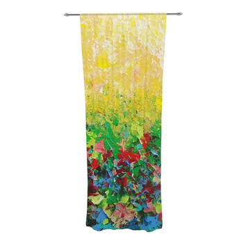 "Ebi Emporium ""My Paintings"" Yellow Multicolor Decorative Sheer Curtain"