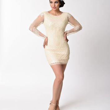 1920s Style Beige Sequin Sheer Long Sleeve Short Flapper Dress