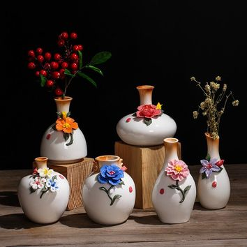 Vintage Ceramic Flower Vases for Homes Antique Traditional Chinese Flower Pattern Porcelain Vase for Flowers Home Decoration