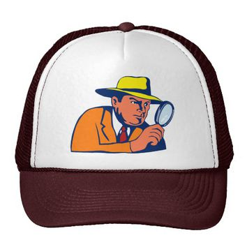 detective looking with magnifying glass trucker hat