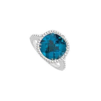 Blue Topaz and Diamond Ring 10K White Gold 3.05 CT TGW