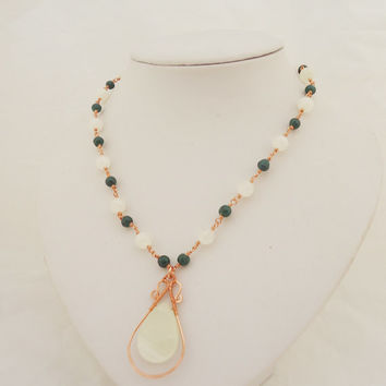 Malachine and Onyx Wire Wrapped Necklace with Pendant, Gemstone Wire Wrapped Necklace, Green and White Necklace
