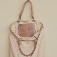 Beige Weave Shopping Bag Leather handle