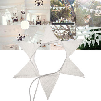 12 Flags 2.8m White Lace Petal Party Wedding Pennant Bunting Banner Decor Party Supplies