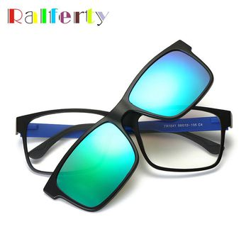 Ralferty Magnetic Clip On Sunglasses Men Women TR90 Polarized Myopia Eyeglass Mirrored Lens Spectacles Driving Goggles Oculos