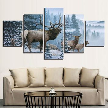 5 Panel Elk Family In Snow Pine Tree Winter Scene Canvas Panel Art Picture Print