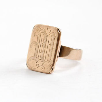 Antique Victorian 10k Gold Monogrammed M Ring- Vintage Late 1800s Cursive Script Fine Jewelry Size 10
