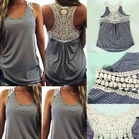 Fashion Women Summer Lace Vest Top Sleeveless Casual Tank Blouse Tops T-Shirt [8805174535]