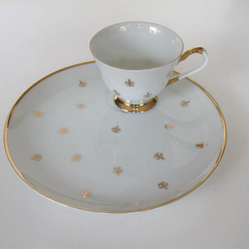 Vintage Fleur de Lis Porcelain Snack Set, vintage cup and plate, Retro Collectible