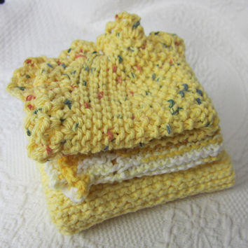 Knit Dishcloth,Washcloth,Dish Rag,Wash Rag Set of three Made with 100% Cotton,Kitchen Decor,Great Gifts,in Yellow's Ready to ship