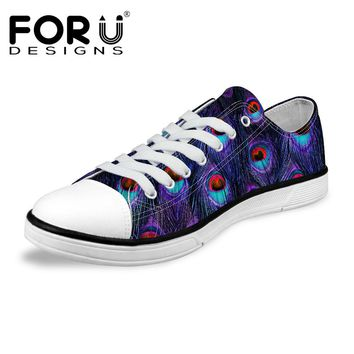 FORUDESIGNS Leisure Men Low Canvas Shoes Male Animal Peacock Feather Printing Lace-up Vulcanized Shoes Breathable Zapatos Hombre