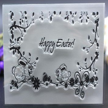 Clear Stamp for DIY Scrapbook Card album paper craft silicon rubber roller transparent stamp happy easter
