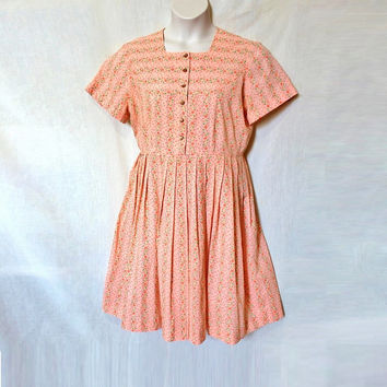Pleated 60s Day Dress Vintage Floral Sundress Peach Roses Plus Size Tea Length