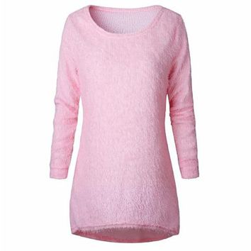 [15829] Fuzzy Long Sleeve Knit Sweater
