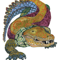 alligator//gator//art//giclee print//reptile 13x19, 11x14, or 8.5x11
