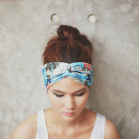 Hippie Turban Twist Headband - blue splash