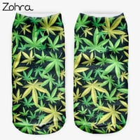 Weed Plant 3D Graphic Full Printing Calcetines Women Meias Caal Low Cut Ankle Sock Cotton Hosiery