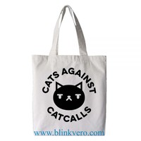 Cats Against Catcalls awesome fashion shopping tote bag