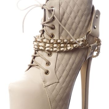Vicious Victor Chain Wrapped Quilted Platform Stiletto Booties - Cream from Glaze at Lucky 21
