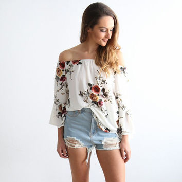 Floral Printed One Shoulder Trumpet Sleeve Bblouse