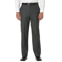 Savane Sharkskin Straight-Fit Flat-Front Dress Pants