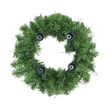 """12"""" Two-Tone Pine Artificial Christmas Advent Wreath - Holds 4 Taper Candles"""